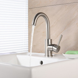 Bathroom Sink Faucet - Waterfall Brushed Centerset Single Handle One HoleBath Faucet