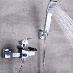 Bathtub Faucet Electroplated Wall Mounted Ceramic Valve Bath Shower Mixer Faucet,Stainless Steel