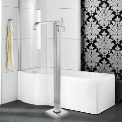 Contemporary Art Deco,Retro Modern Tub And Shower Waterfall Widespread Floor Standing Ceramic Valve Single Handle One Hole Chrome,
