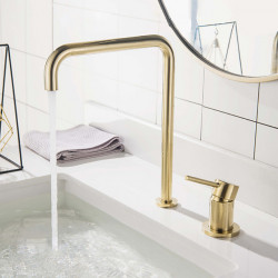 Bathroom Sink Faucet - Widespread Brushed Gold Widespread Single Handle Two Holes Bath Faucet