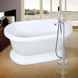 Contemporary Art Deco,Retro Modern Tub And Shower Handshower Included Pullout Spray Widespread Floor Standing Ceramic Valve...