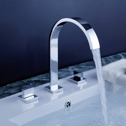 Bathroom Sink Faucet - Rotatable,Widespread,Waterfall Chrome Deck Mounted Two Handles Three Holes Bath Faucet