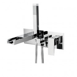 Bathtub Faucet - Contemporary Wall Mounted Waterfall Chrome Bathroom Bath Shower Mixer Faucet with Handheld Shower