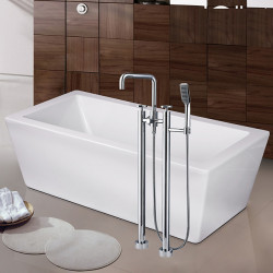 Contemporary Art Deco,Retro Modern Tub And Shower Waterfall Widespread Floor Standing Ceramic Valve Two Handles Two Holes...