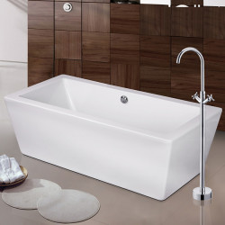 Contemporary Art Deco,Retro Modern Tub And Shower Waterfall Widespread Floor Standing Ceramic Valve Two Handles One Hole...