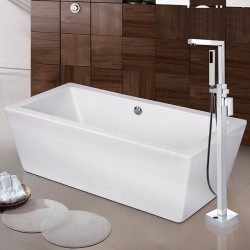 Contemporary Art Deco,Retro Modern Tub And Shower Pullout Spray Widespread Floor Standing Ceramic Valve Single Handle One Hole...