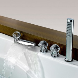 Bathtub faucet-Contemporary chrome-plated hot and cold split including hand shower brass valve bathtub shower faucet