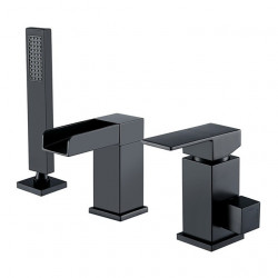 Bathtub Faucet - Contemporary Waterfall Painting Black Finish Three Holes Bath Shower Mixer Faucet Set Handshower Include