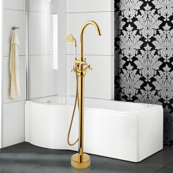 Modern Tub And Shower Widespread,Floor Standing,Pullout Spray with Ceramic Valve Two Handles One Hole