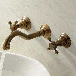TwoHandlesBathroomFaucet,Wall MountedThree Holes Widespread,Centerset,Brass Bathroom Sink Faucet Contain with Cold and...