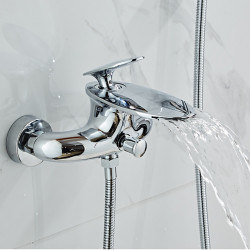 Bathtub Faucet - Contemporary Electroplated Free Standing Brass Valve Bath Shower Mixer Faucet