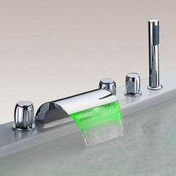 Bathtub Faucet - LED Chrome Waterfall Bath Shower Mixer Faucet Modern Three Handles Five Holes with Handshower