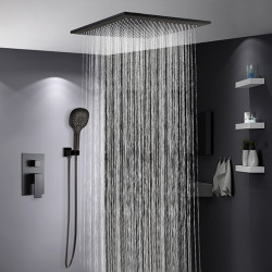 Shower Faucet Set Painted Finishes Contemporary Rain Shower Faucets Wall Mounted with Ceramic Valve Bath Shower Mixer...