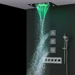 500*360 Chrome,LED Shower Faucets Sets Complete with Solid Brass Handshower, Ceiling Mounted Rainfall Shower Head, Nozzle and 3...