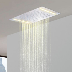 500*360 Chrome Shower Faucets Rain Mixer Complete with 304 Stainless Steel LED Shower Head Ceiling Mounted, Luxury Rainfall...