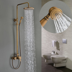 Single HandleShower Faucets,Antique Brass Three HolesRainfall Shower Faucets,Brass Traditional Shower Faucets