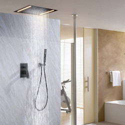 500*360 Matte Black,LED Shower Faucets Sets Complete with Stainless Steel Shower Head and Solid Brass Handshower Ceiling...