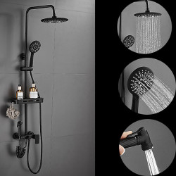 Shower Set Set - Handshower Included pullout Rainfall Shower Contemporary Electroplated Wall Mounted Ceramic Valve Bath Shower...