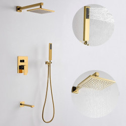 200*200 Gold Shower Faucets Sets Complete with Stainless Steel Shower Head, Solid Brass Handshower, and Rotary Nozzle Wall...