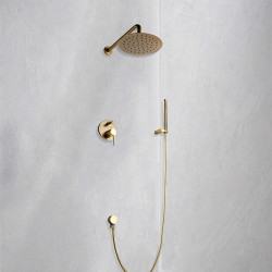 Shower Faucet Set - Rainfall Contemporary Brushed Gold Wall Mounted Ceramic Valve Bath Shower Mixer Faucet