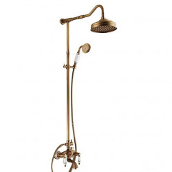 Retro Vintage Shower Faucet, Oil-rubbed Bronze,Antique Brass Rainfall Shower System Contain with Rain Shower,Shower...