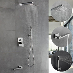 12 Inch Chrome Shower Faucets Sets Complete with Stainless Steel Shower Head, Solid Brass Handshower and Rotary Nozzle Wall...