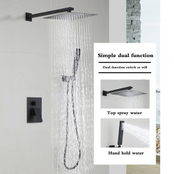 Matte Black Shower Faucets Sets Complete with Stainless Steel Shower Head and Solid Brass Handshower Wall Mounted Rainfall...