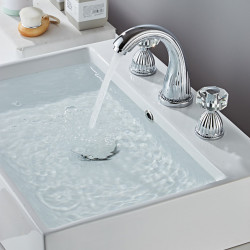 Bathroom Sink Faucet - Widespread Electroplated Widespread Two Handles Three Holes Bath Faucet