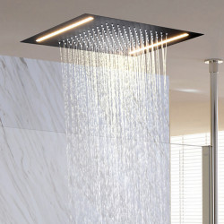 500*360 Matte Black Bathroom Faucet Rain Shower Complete with LED Stainless Steel Shower Head Ceiling Mounted Ti-PVD Feature -...