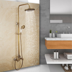 Shower System,Rainfall Shower Head System Set - Handshower Included pullout Rainfall Shower Vintage Style,Country Antique Brass...