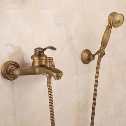 Shower Faucet Set,AntiqueBrass,Brass,YellowDual-Head pullout Vintage Style,BrassShowerFaucetwithRain...