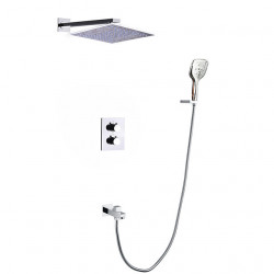 Shower Faucet - Contemporary Chrome Wall Mounted Ceramic Thermostatic Shower Valve Bath Shower Mixer Faucet