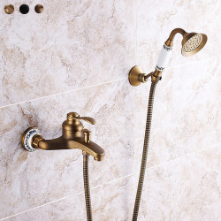 Shower Faucet,Rainfall Shower Head System Set - Handshower Included pullout Vintage Style,Country Antique Brass,Electroplated...