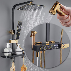 Shower System,Rainfall Shower Head System,Thermostatic Mixer valve Set - Handshower Included pullout Rainfall Shower...