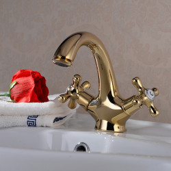 Bathroom Sink Faucet - Centerset Ti-PVD Centerset One Hole,Two Handles One HoleBath Faucet