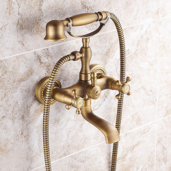 Shower Faucet, AntiqueBrass,Electroplated Pull Out Rainfall Shower Head System,Brass Shower FaucetMount Outside withRain...