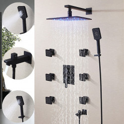250*250 Matte Black Shower Faucet Sets Complete with 3 Function Handshower, 6 Massage Body Jet, Wall Mounted Spray Rainfall...