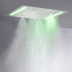 500*360 mm 3 Molde Superior Contemporary Rain Shower Brushed Feature - LED, Shower Head
