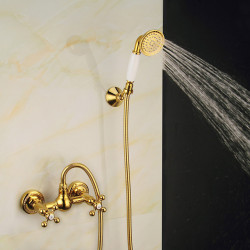 Shower Faucet Set,Antique Brass,Electroplated Vintage Style Mount Outside,Brass Shower Faucet Faucet with Rain Shower,Handshower