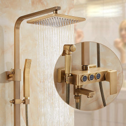 Shower System,Rainfall Shower Head System Set - Handshower Included Waterfall Vintage Style,Traditional Antique Brass Mount...