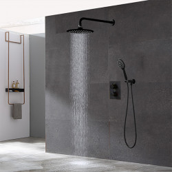 Bathroom Concealed Black Thermostatic Shower Set 10 inch Rainfall Overhead and Hand-held Shower Room Faucet Kit