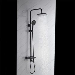 Shower System,Thermostatic Mixer valve Set - Handshower Included Rainfall Shower Contemporary Black Wall Mount Exposed Ceramic...