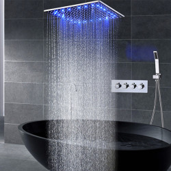 16 Inch Shower Faucets Sets Complete with Spray Rainfall Shower Head Ceiling Mounted LED Shower Head System(Contain Shower...