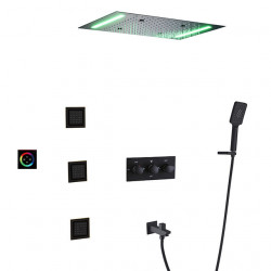 Shower Faucet Set - Rain Shower Contemporary Chrome,Painted Finishes Wall Mounted Ceramic Valve Bath Shower Mixer...