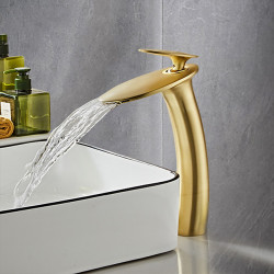 Brushed Gold Waterfall Bathroom Sink Faucet with Supply Hose,Single Handle Single Hole Vessel Lavatory Faucet,Slanted Body...