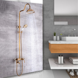 Shower System Set - Handshower Included pullout Waterfall Vintage Style,Country Antique Brass Mount Outside Ceramic Valve Bath...