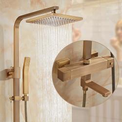 Shower Set Set - Handshower Included pullout Rainfall Shower Antique,Traditional Antique Brass Wall Mounted Ceramic Valve Bath...