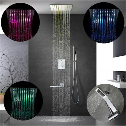 12 Inch Chrome,64-Color LED Shower Faucets Sets Complete with Stainless Steel Shower Head and Solid Brass Handshower Ceiling...