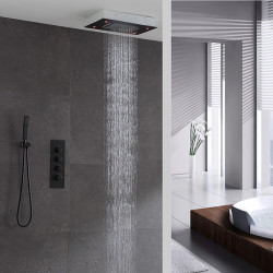 Shower Faucet,Rainfall Shower Head System Set - Handshower Included LED Fixed Mount Contemporary Painted Finishes Ceiling...