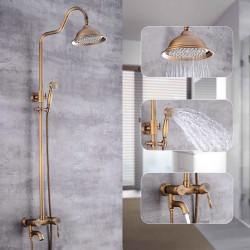 Shower System,Rustic Nickel Waterfall Pull Out Vintage Style Mount Outside Shower System,Brass Shower System with Rain...